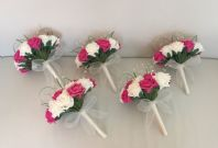 WEDDING FLOWERS ARTIFICIAL IVORY HOT PINK FOAM ROSE BRIDESMAID BOUQUETS X 5